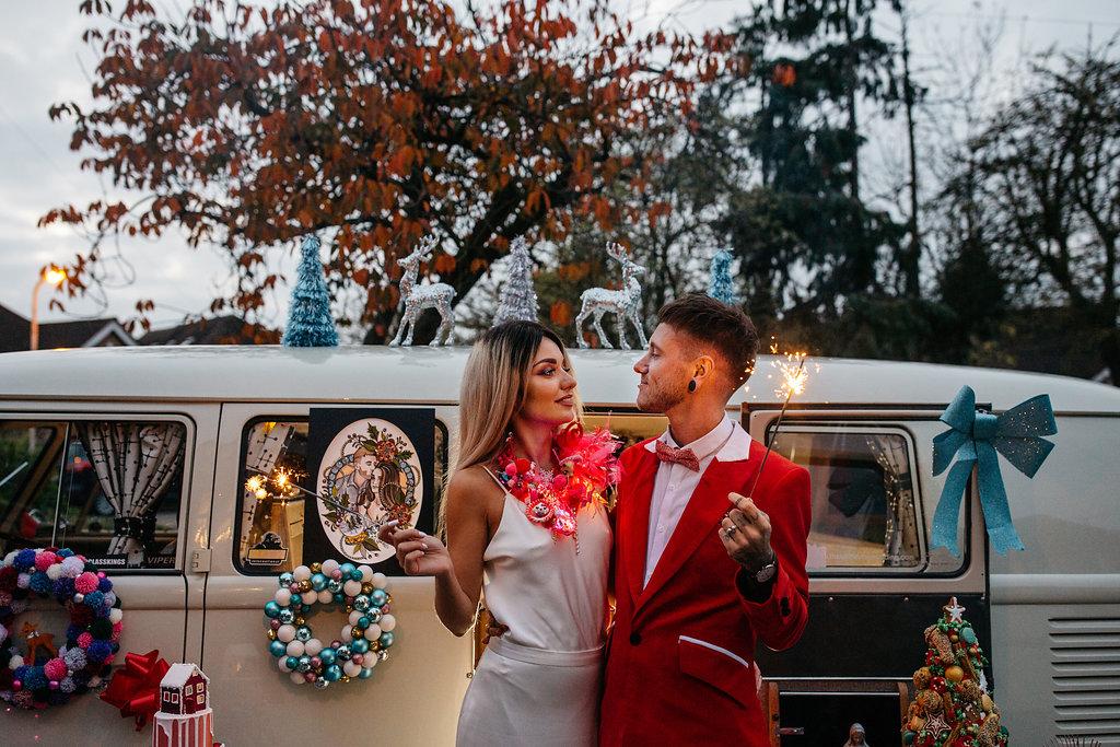 Alternative kitsch christmas shoot - alternative Essex wedding photographer