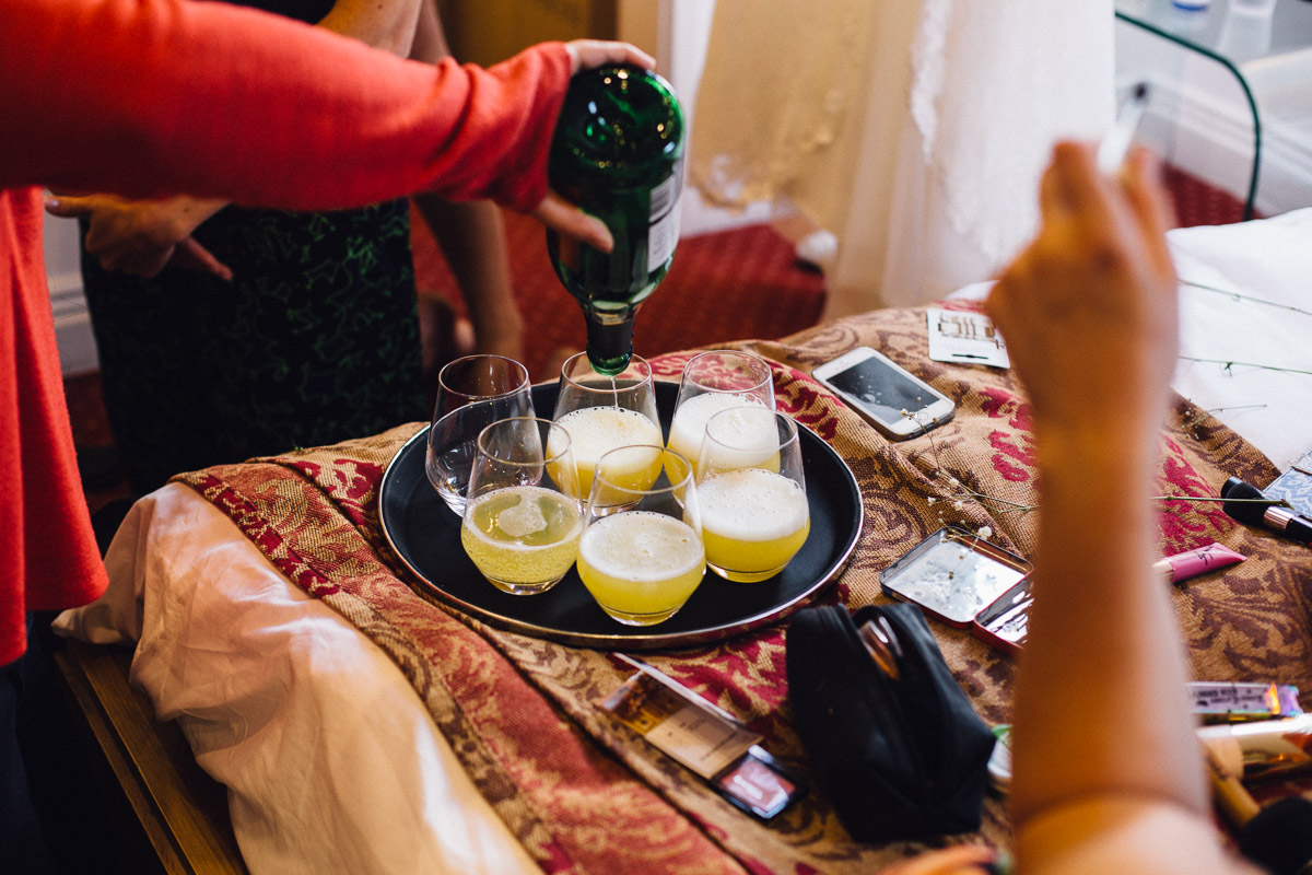 Bridal Preparations Bucks Fizz Being Poured