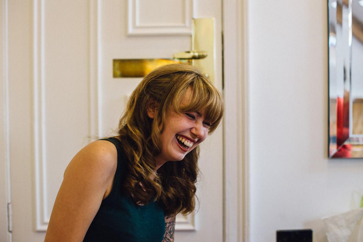 Laughing During Bridal Prep