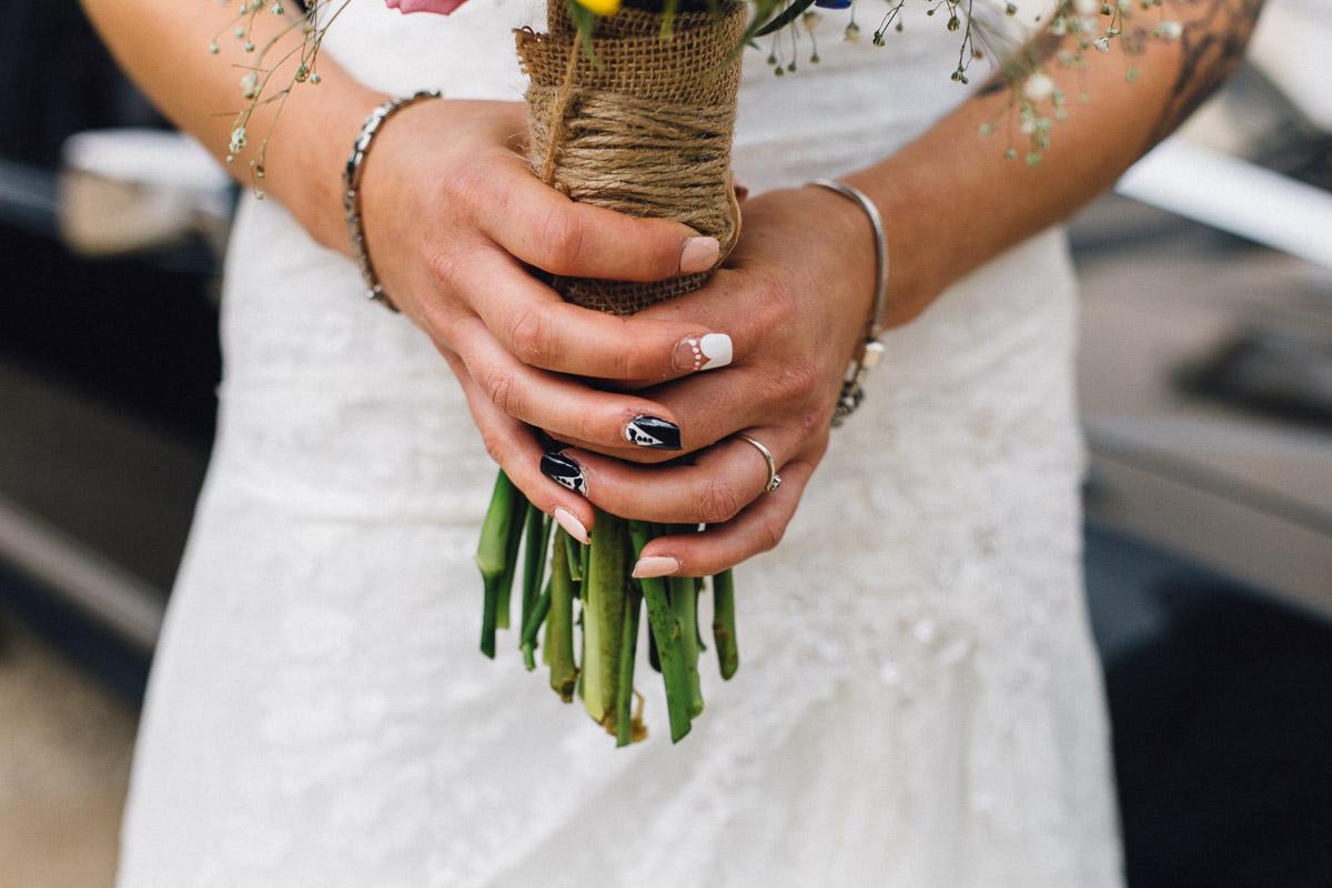 Bride Groom Nail Art Holding Bouquet