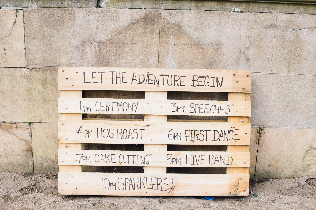 Wooden Pallet Wedding Timeline Sign