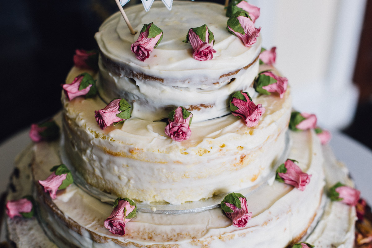 Rustic DIY Naked Wedding Cake with Roses