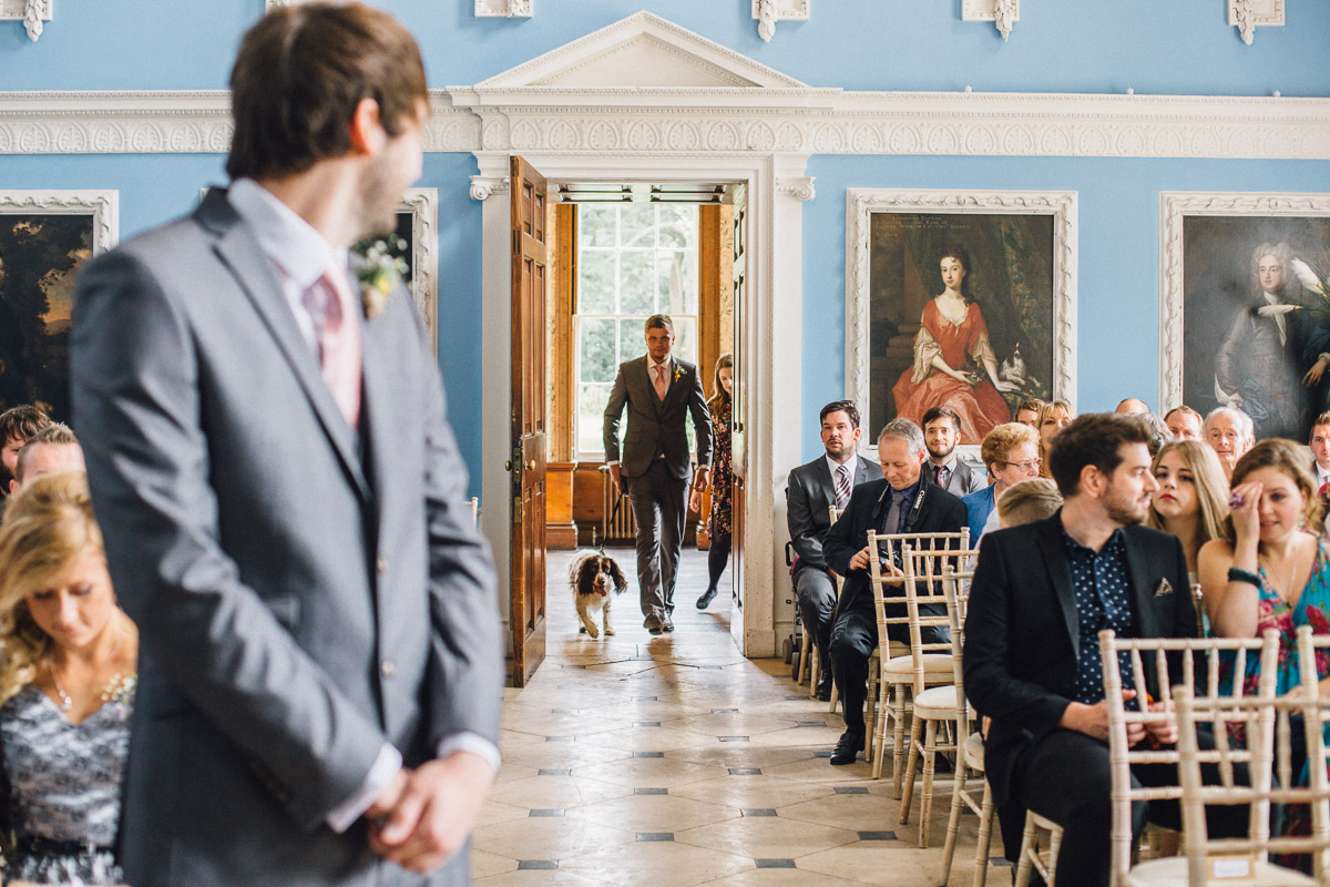 Dog Walking Down Wedding Ceremony Aisle Before Bride
