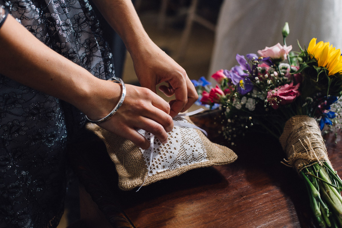 Best Woman Presents Rings on Cushion during Ceremony