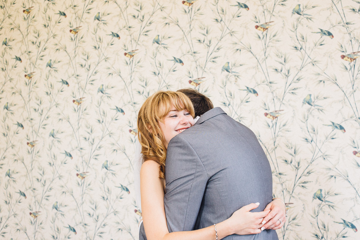 Bride and Groom Hug During Couple Photos