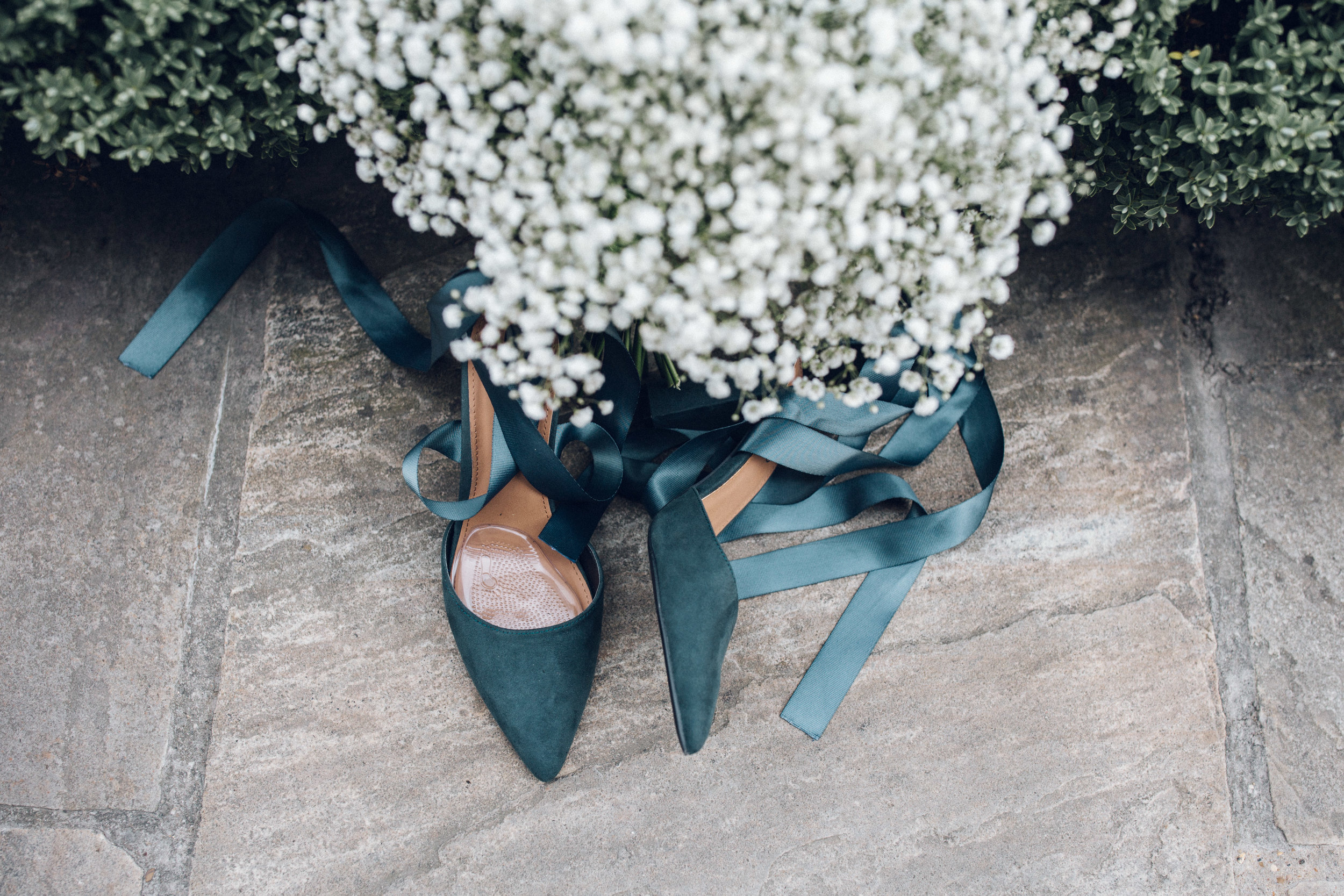 Green Wedding Shoes with Gypsophila Bouquet
