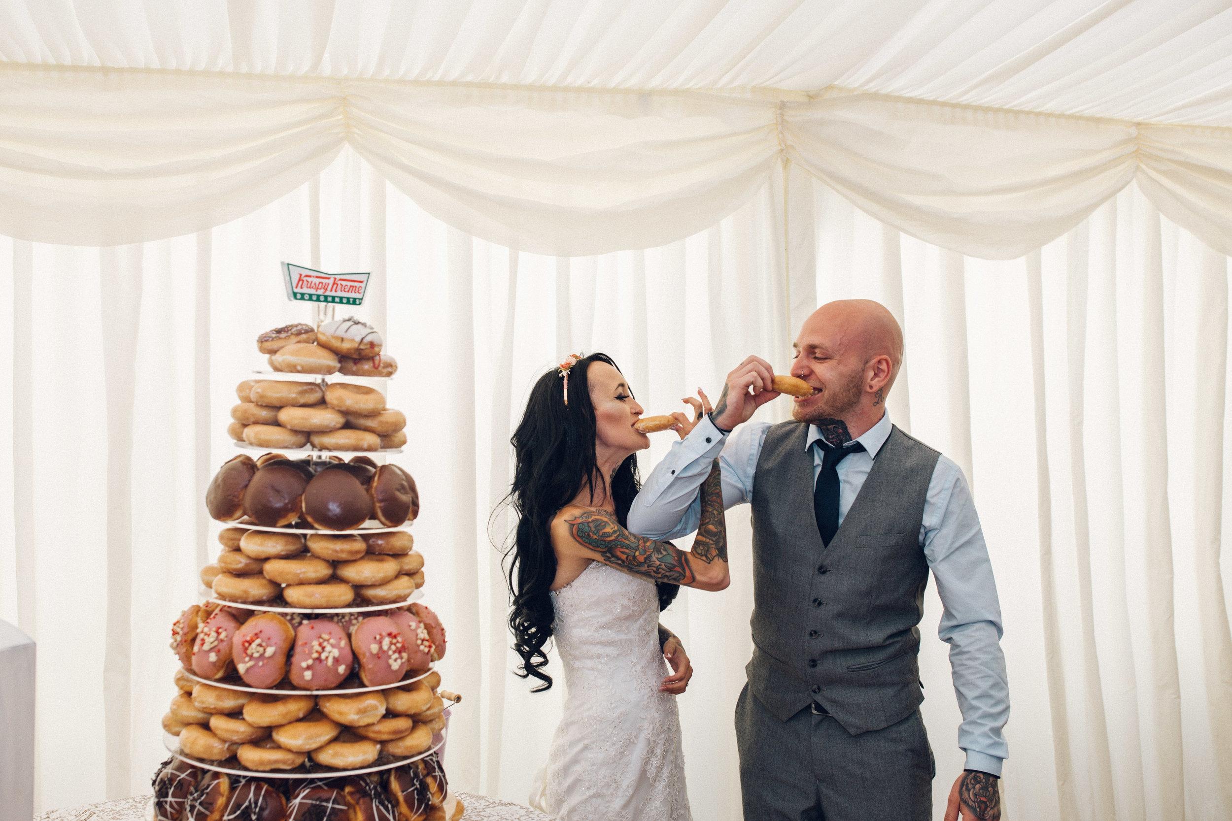 Krispy Kreme UK wedding doughnut cake Zinnia Garden, Banstead, Surrey wedding photographer