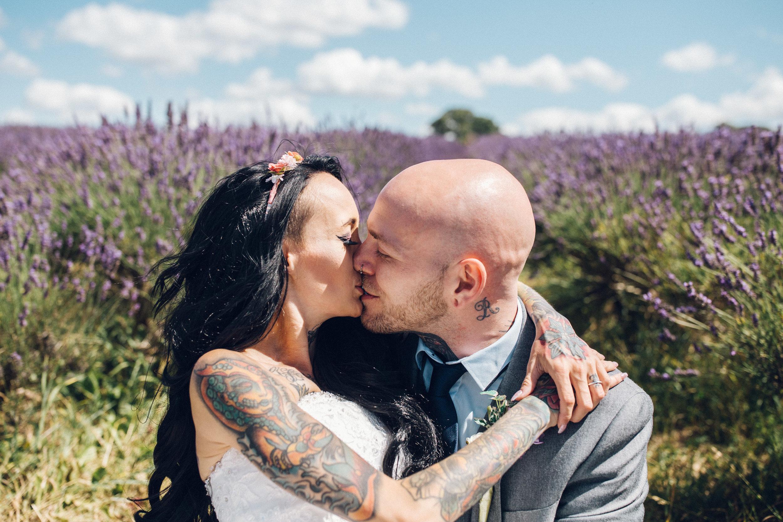 Mayfield Lavender farm wedding couple portraits - Zinnia Gardens wedding