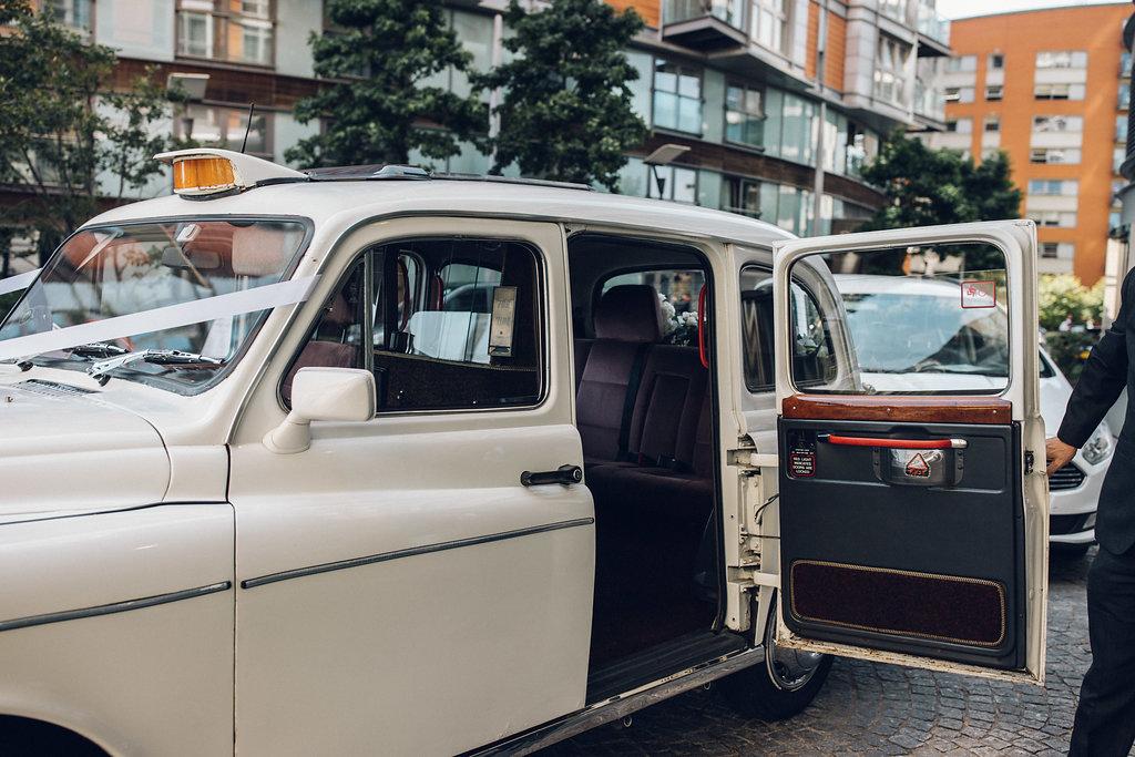 Vintage taxi bridal transportation London