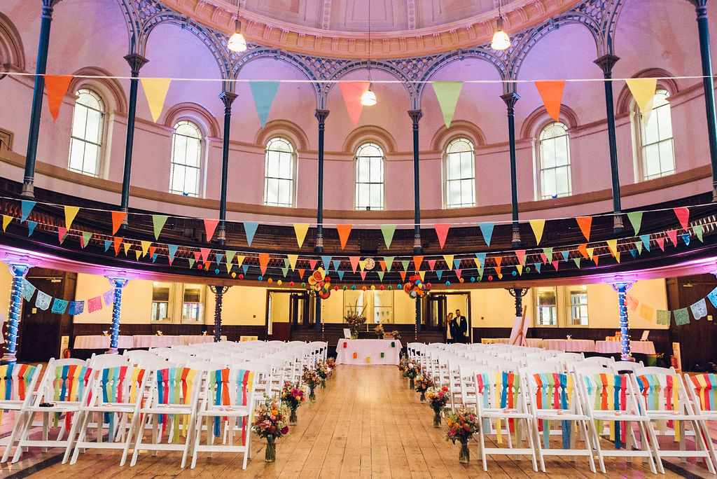 Colourful wedding bunting Round Chapel