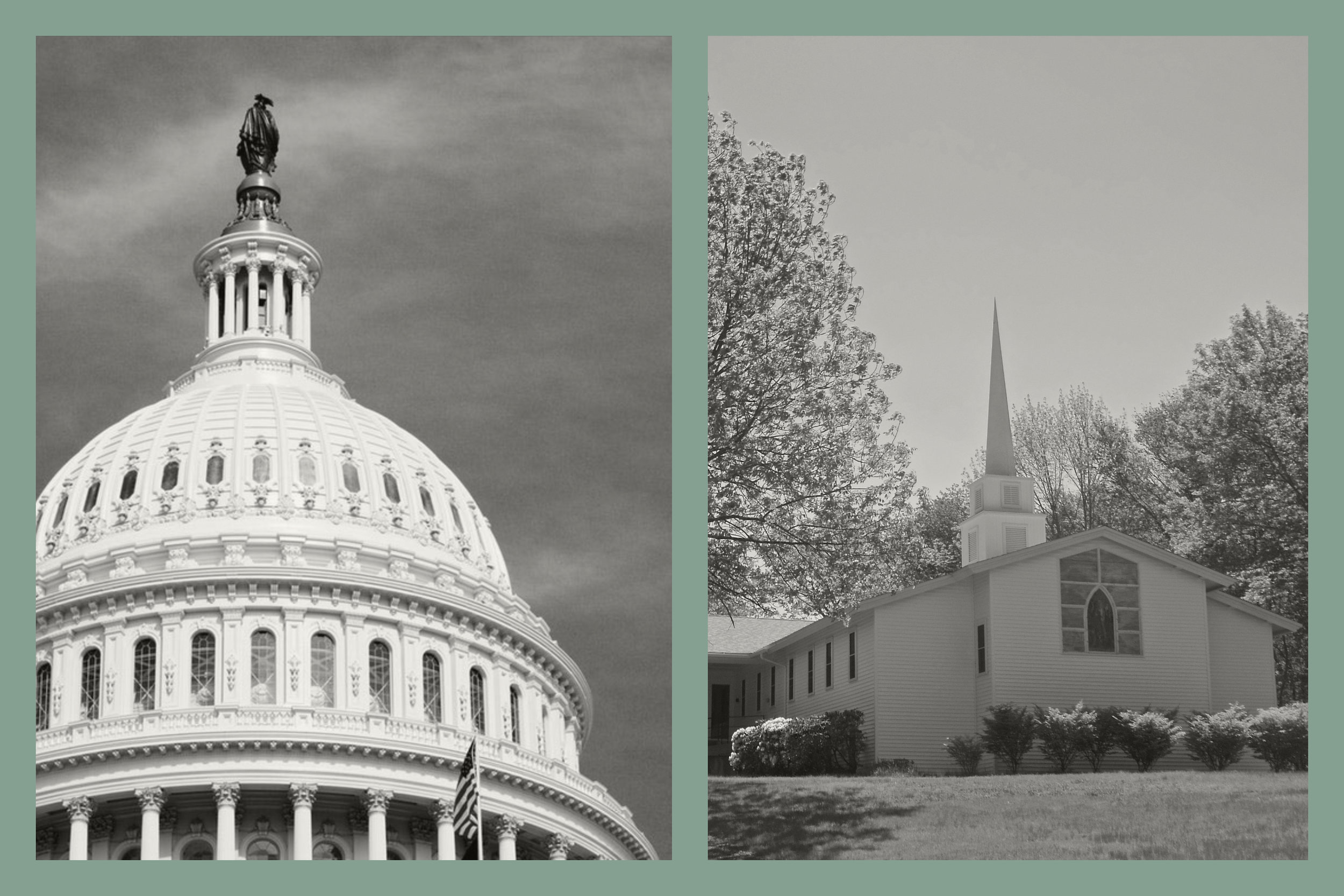 Pictured: The US Capitol building and the Advent Christian church in North Scituate, RI