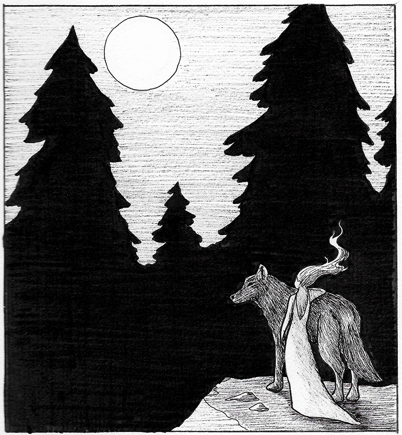 Woman with wolf, trees, moon 2.jpg