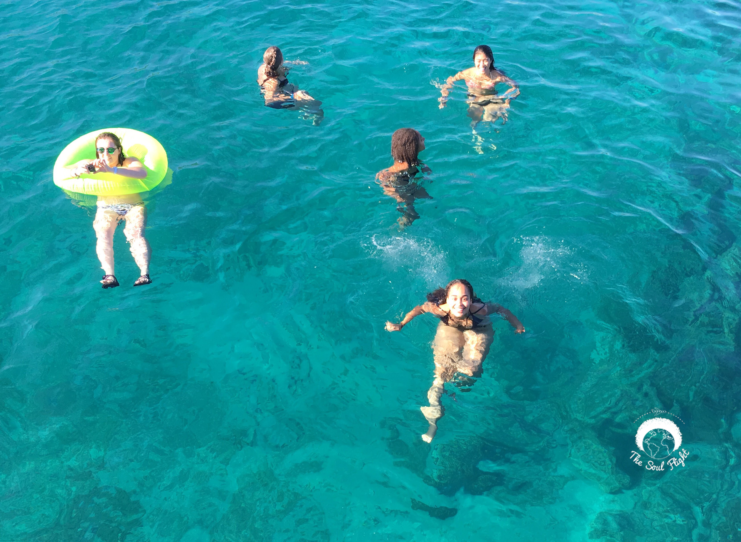 Peep Shelby with her green tube - (No edits or filters on the color of the water were applied)
