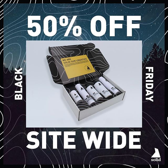 Black Friday sale starts now! Our Solid Essentials Kit is the perfect gift for the Outdoor Enthusiast in your life. A $125 value normally sold for $95, now only $47.50 while supplies last.
