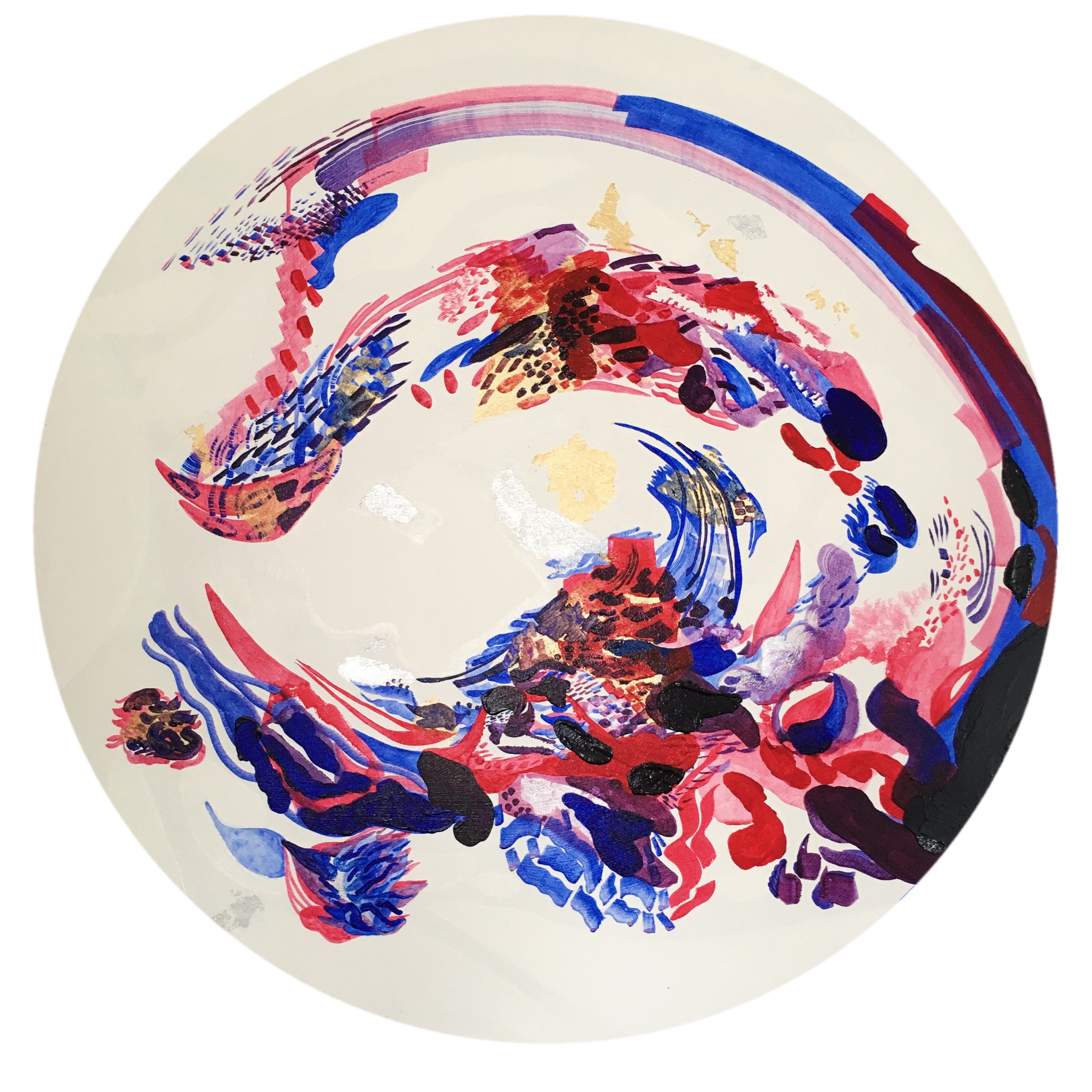 W O N D E R.  Acrylic & imitation Gold Leaf on Canvas  1m diameter.  £850   Click here to make a purchase inquiry.