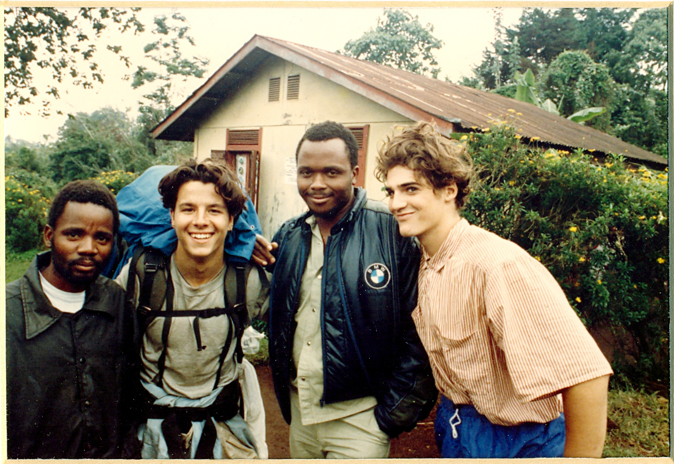 On the slopes of Mt. Kilimanjaro, 1992. The man next to me was the guy I handed a little incentive to, so we could keep climbing