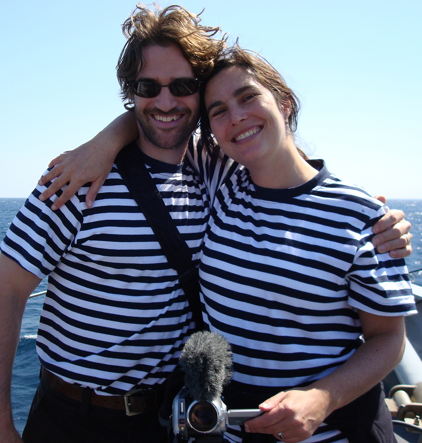 Courtenay was never a big fan of the uniform but occasionally humored me. On a pirate patrol in the Arabian Sea, 2008. We thought the sailor motif was appropriate.