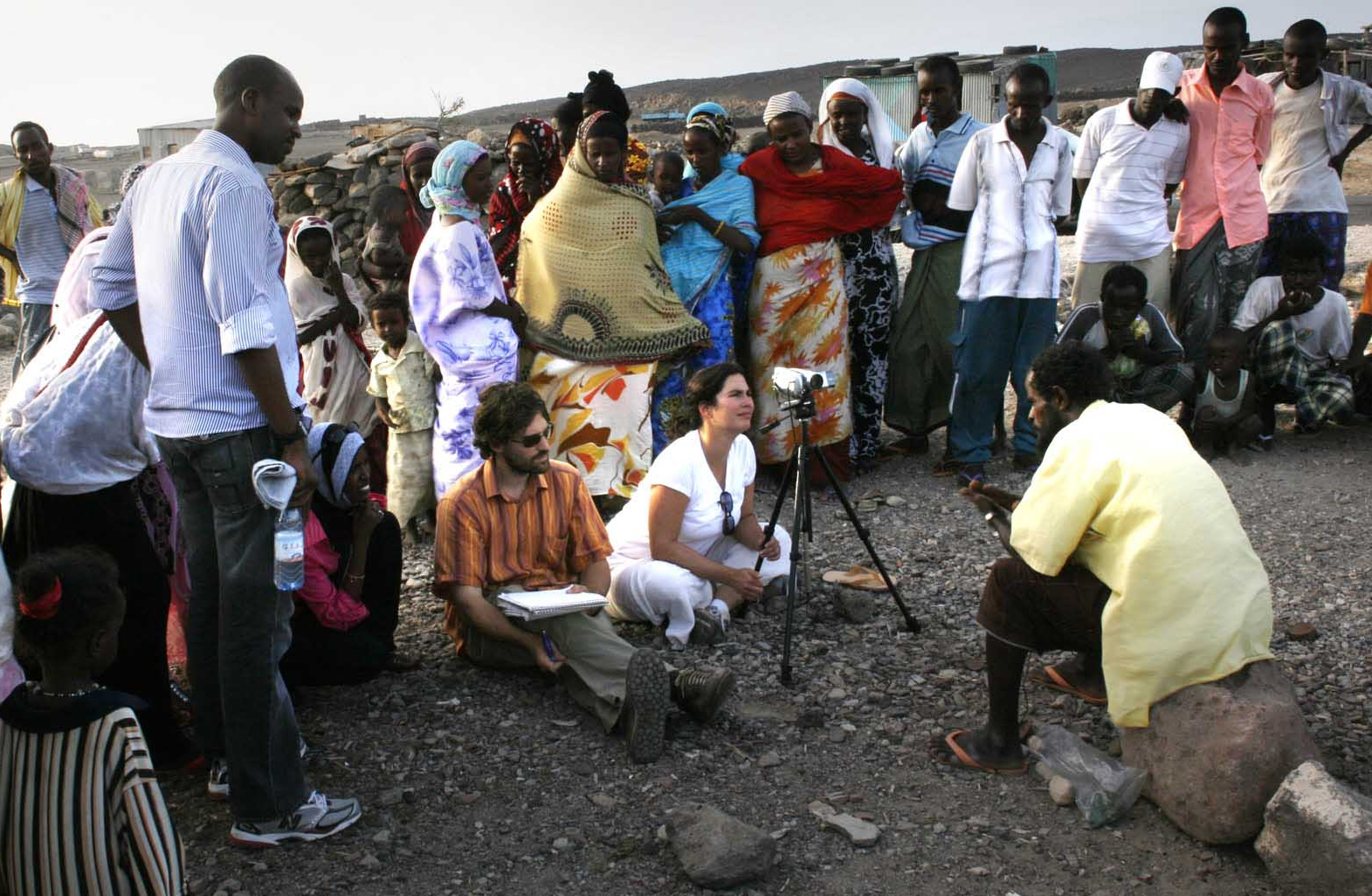 We'd often get crowds during interviews. In an Afar village, Djibouti.