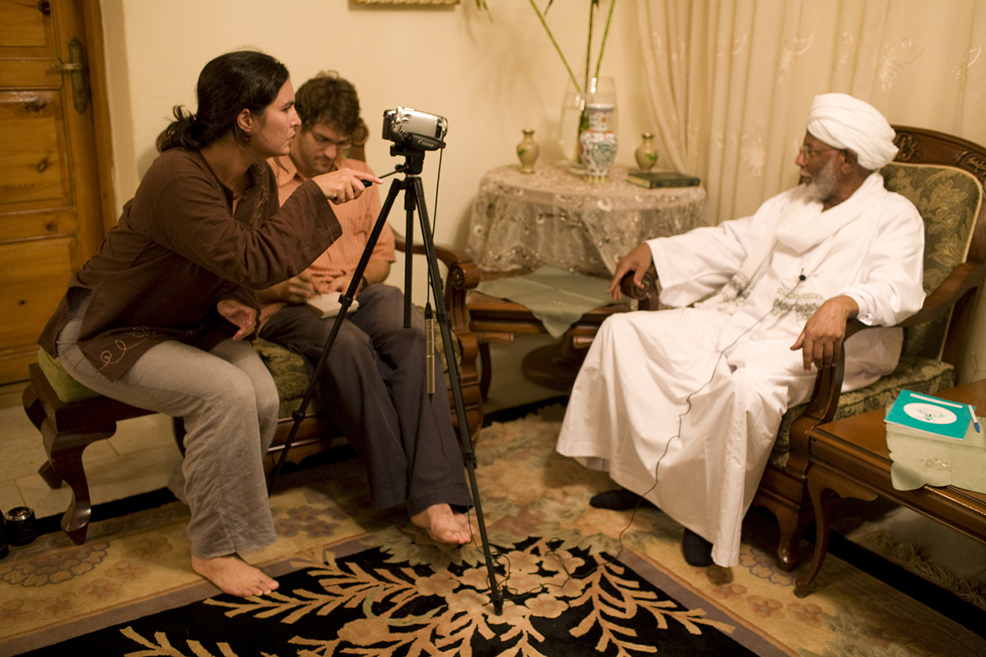 Shoes off for interviewing one of Sudan's most dangerous, intelligent and whimsical intellectuals, Hassan Al-Turabi. Khartoum, Sudan