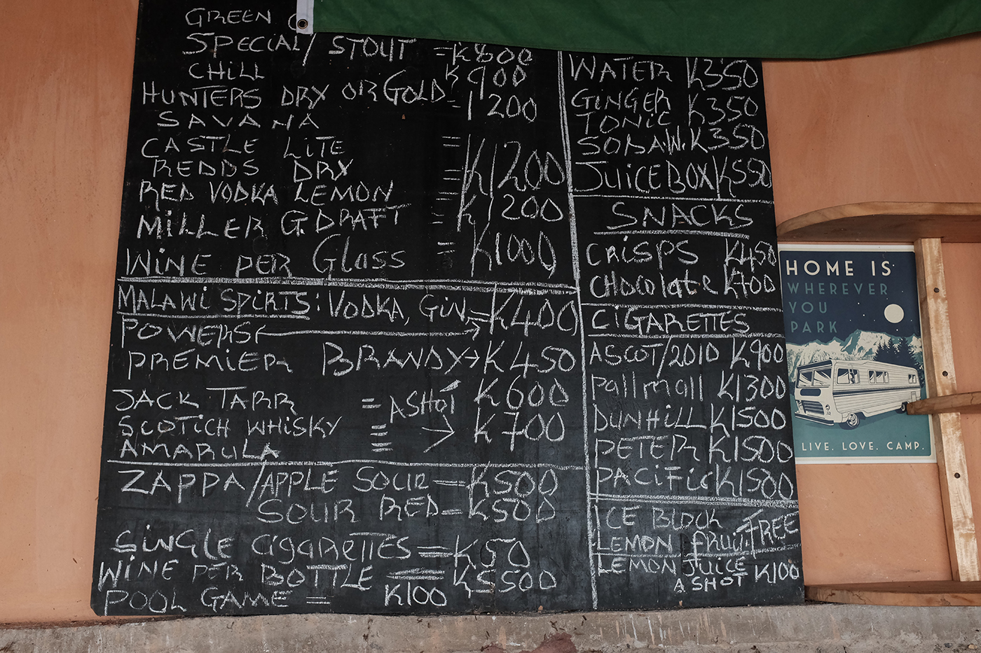 Drinks menu in Malawi