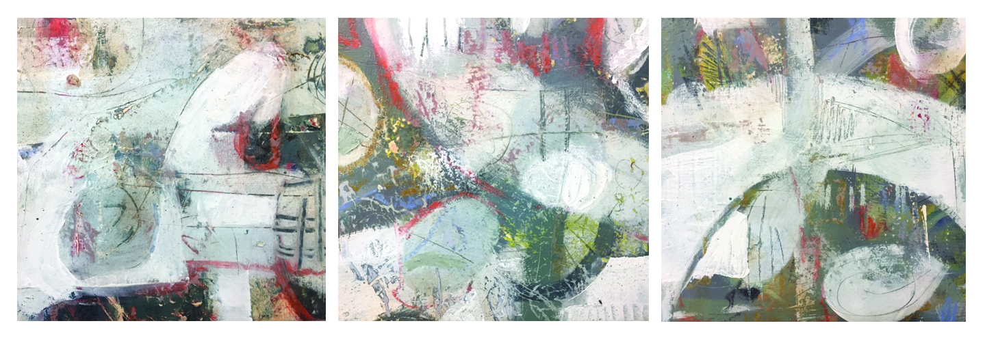 """REEF TRIPTYCH 3""   36"" X 12""    Mixed Media on Board.     Part of my REEF SERIES."