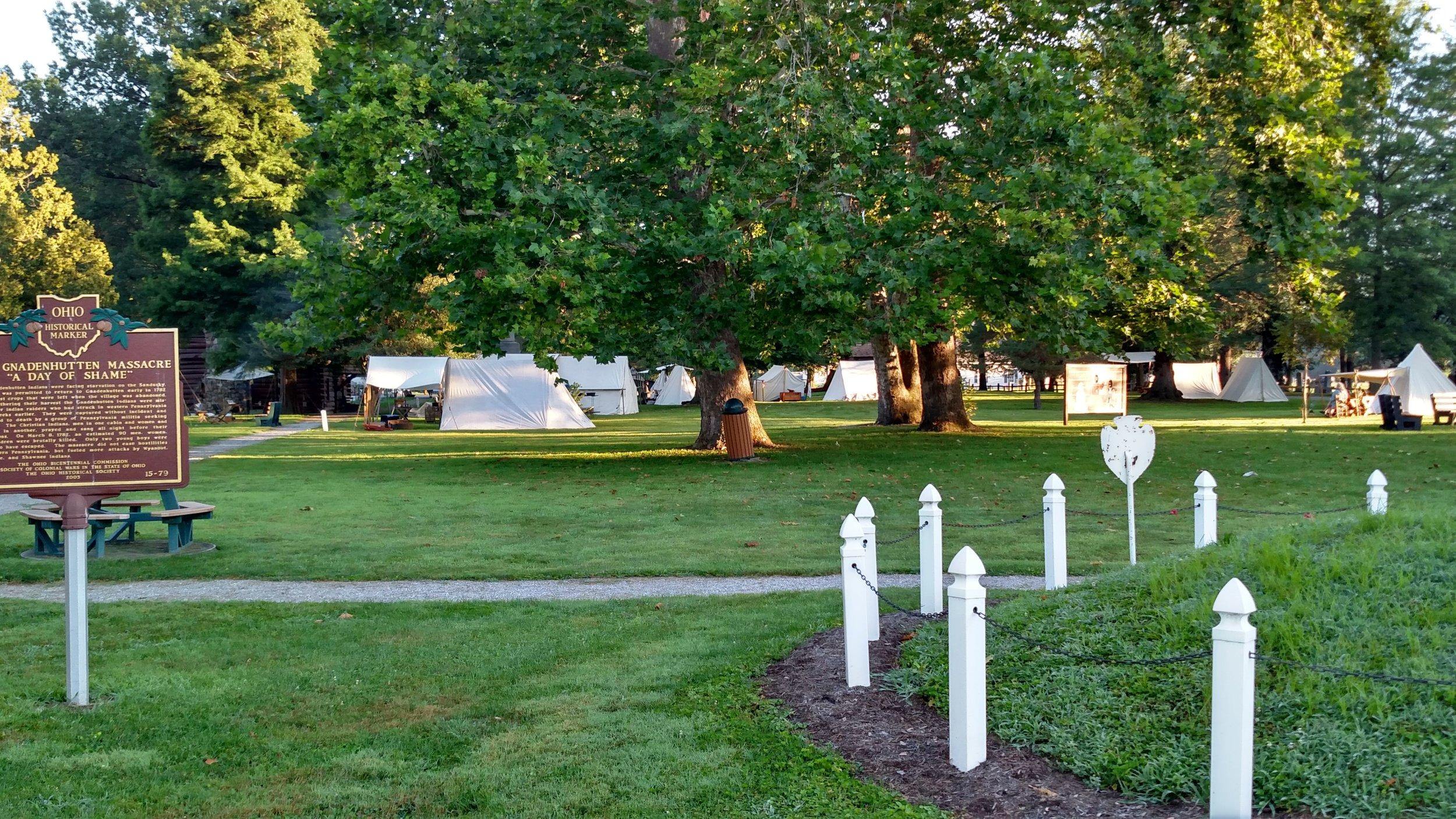 Pioneer Days primitive encampment at Gnadenhutten Museum & Historical Park