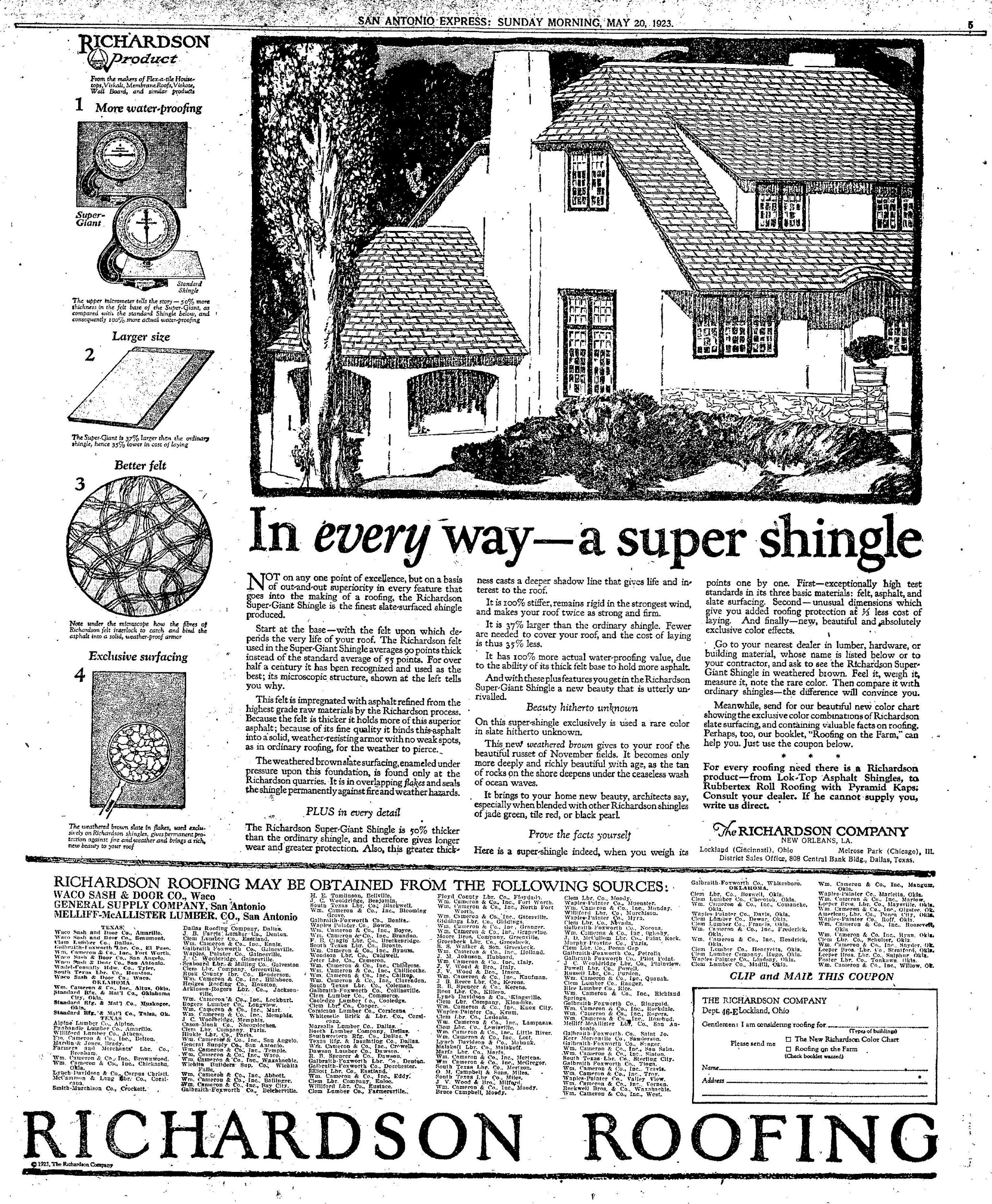 A 1923 advertisement in the San Antonio Express News for an asphalt composition shingle product.