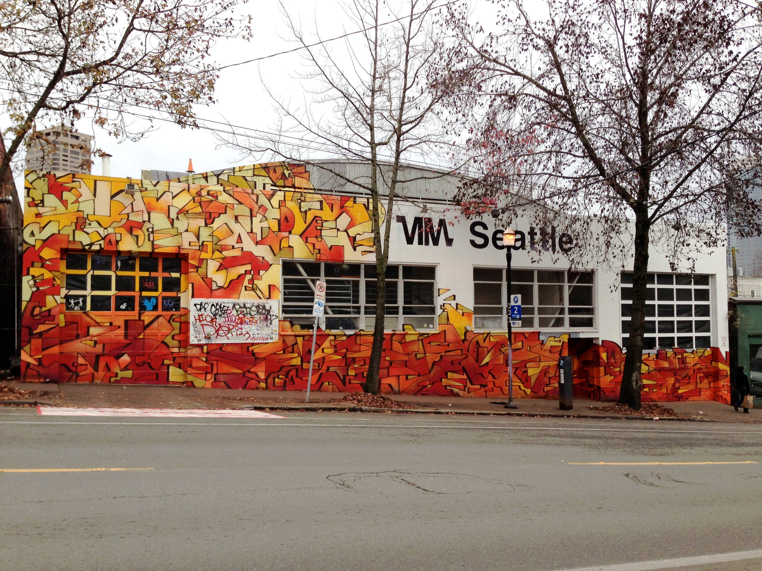NKO's mural on the outside of the old BMW Building site for ONN/OF 2013