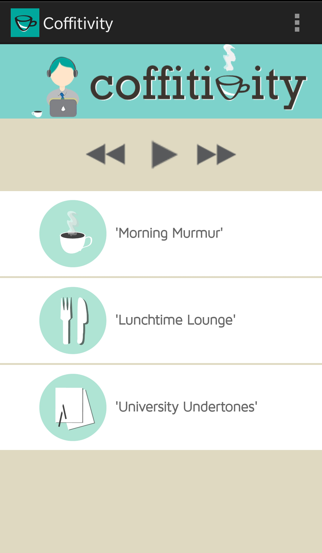 coffitivity - available for Android, iOS, desktop OSX, and onlineCoffitivity is another soundscape service; however, this one specializes in coffee shop ambiances! It claims (with peer reviewed research!) to