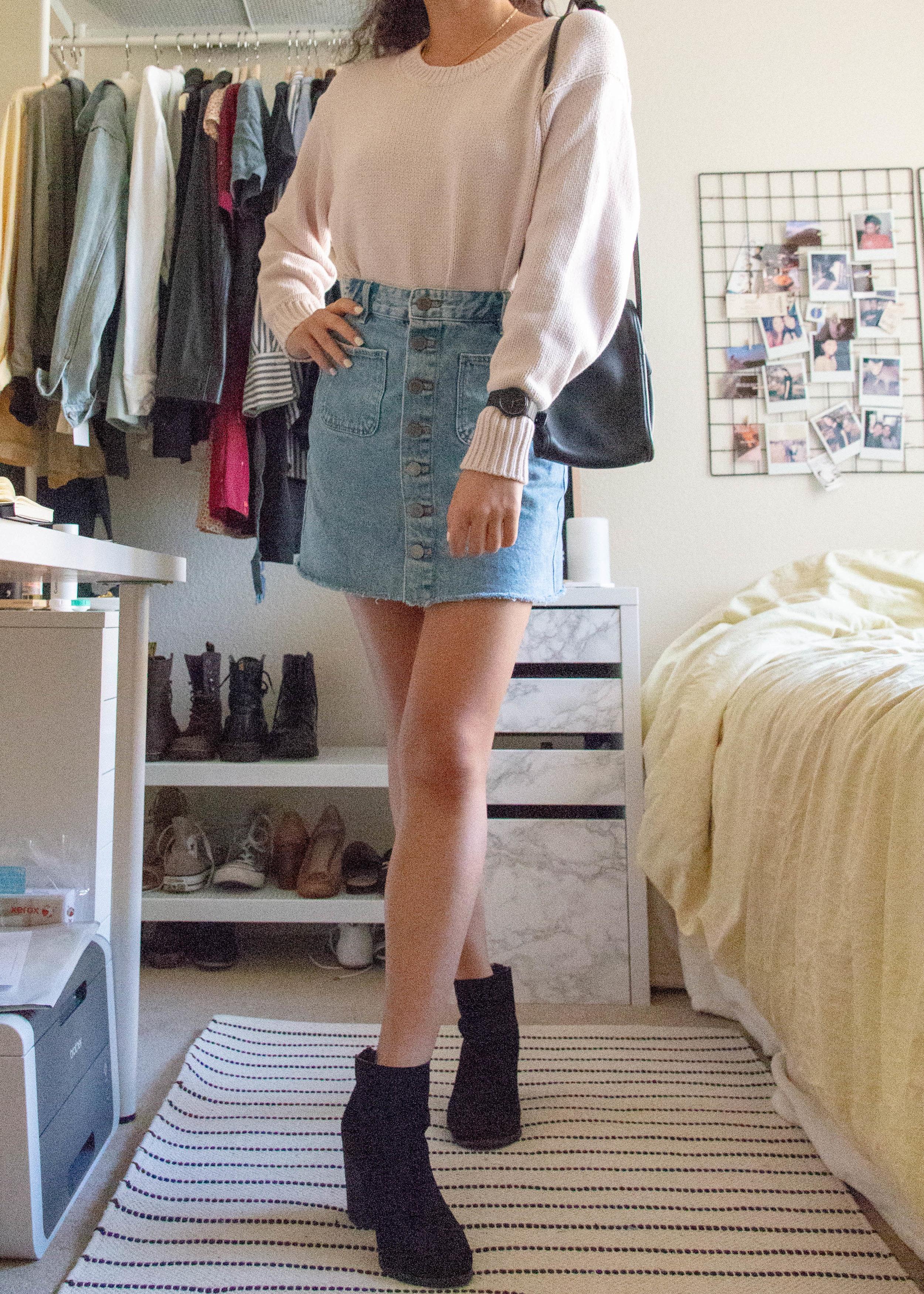 the denim skirt - sweater - everlane*skirt - zaraboots - urban outfittersbag - vintage