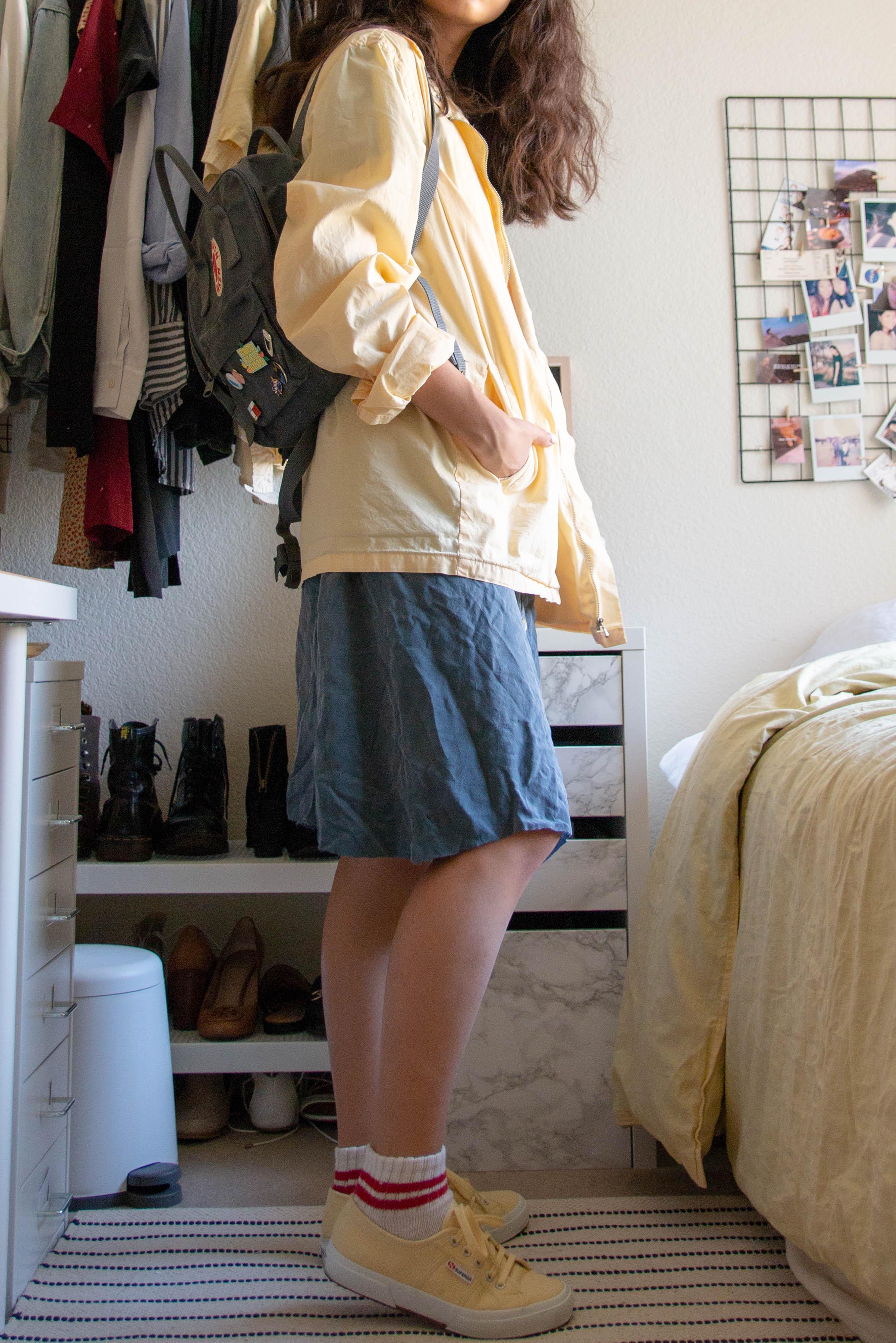 the midi dress - midi dress - vintagewindbreaker - vintagesocks - forever21 (old)sneakers - supergabag - fjallraven kanken mini