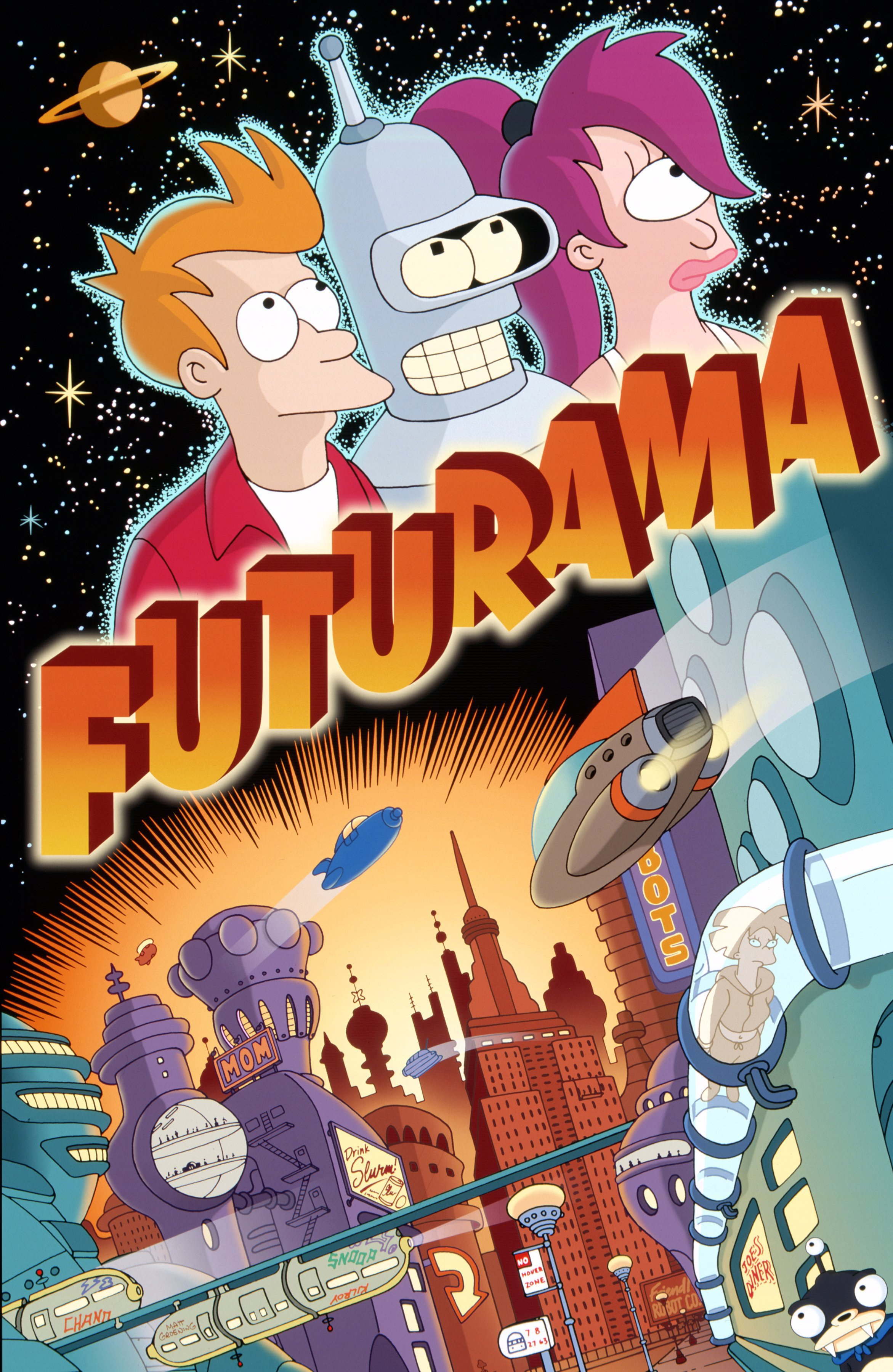 Futurama - I'm still on the cartoon train, baby. Futurama is about a pizza delivery boy from the year 2000 who gets cryogenically frozen and wakes up a thousand years later. If you're into The Simpsons, Bob's Burgers, or South Park, I highly recommend giving this one a go.Available on Hulu