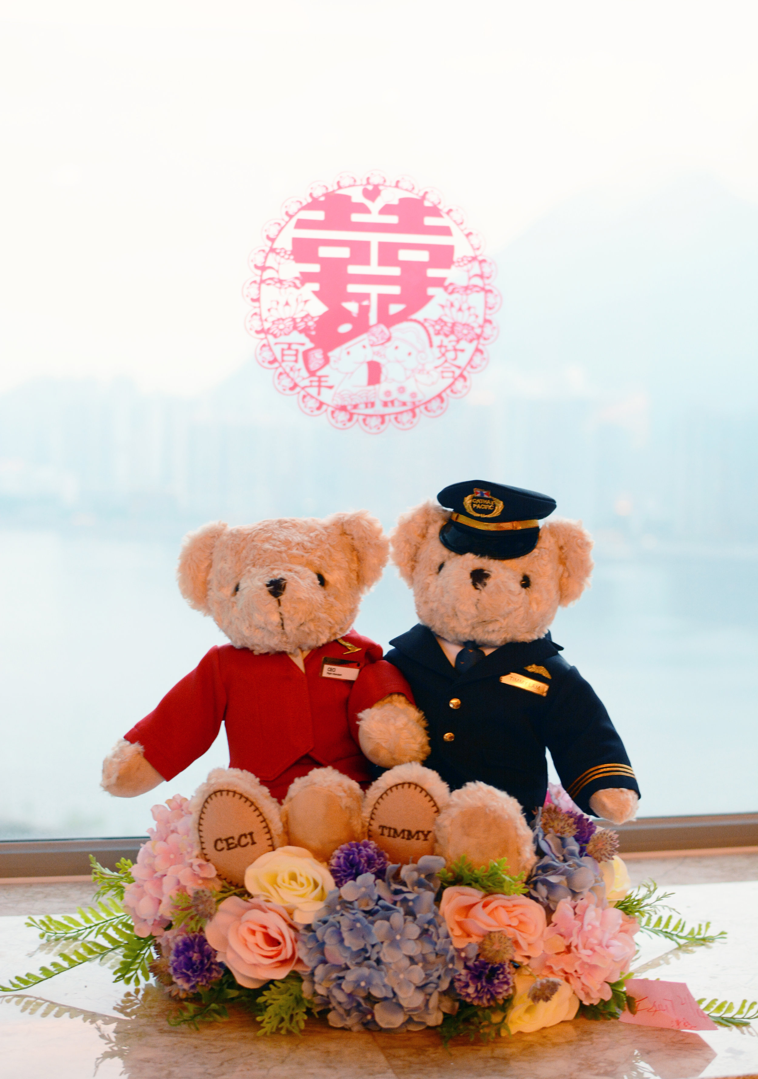Ceci and Timmy had custom bears created--Ceci is a flight attendant, and Timmy is a pilot!