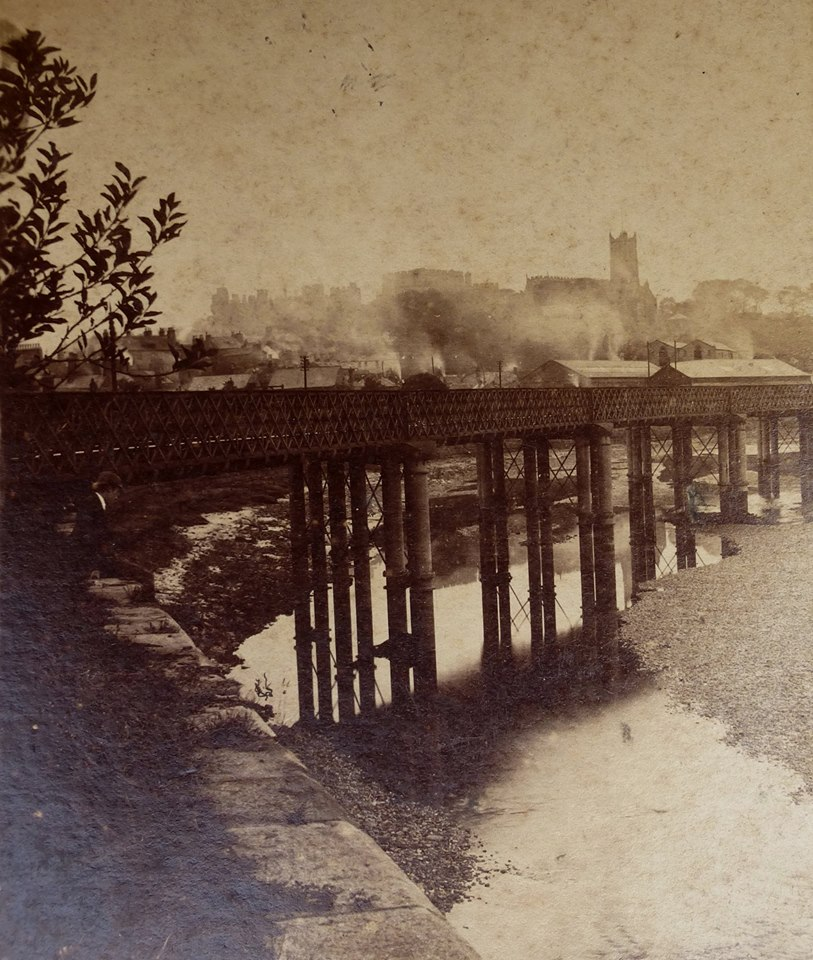 The original 'Greyhound' Midland Railway Bridge in Lancaster, built in 1864.  Posted to Lancaster Past & Present Facebook group by Nigel Radcliffe.
