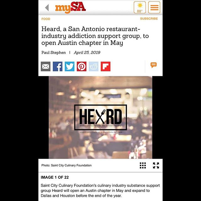 Thank you @mysanantonio for getting the word out about Heard Austin launching on May 7th! • Link in bio • • • #heard #recovery #cheflife #austin #serviceindustry