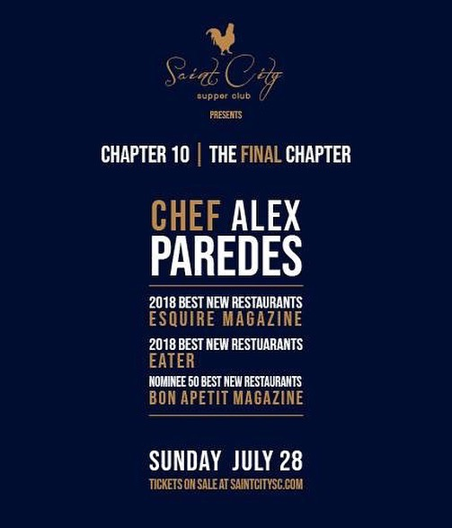 Well...after 2 years we will be having our last Saint City Supper Club dinner/event.  We will be shifting our focus completely over to Saint City Culinary Foundation and working to support the men and women working in the food & beverage service industry.  This last dinner will be a VERY special night.  We are excited to have Chef Alex Paredes of Carnitas Lonja joining us.  Tickets go on sale Friday, June 28 at 10 am at saintcitysc.com/new-events.  As always... Set. Your. Alarm. You don't want to miss this one.  #sanantoniofood #supperclub #saintcitysc #sanantonio