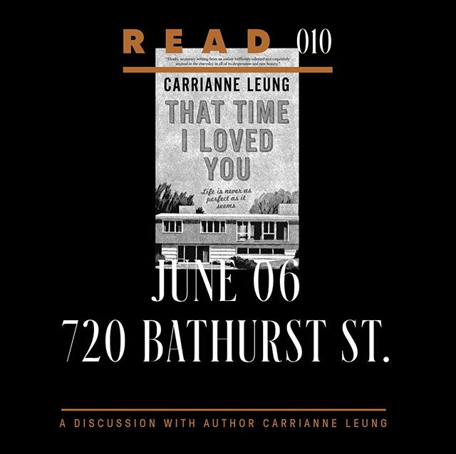 And here you have it - our Read 010 book selection is 'That Time I Loved You' by our very own Toronto-based author Carrianne Leung.  The book is a collection of linked stories that tell deeply moving tales of a tumultuous 1970s Scarborough suburb. Seen through the eyes of a daughter to Chinese immigrants, a series of inexplicable suicides begins to haunt her shiny new subdivision, and no one is more fascinated by the terrible phenomenon than young June. She sits hawk-eyed at the centre, bearing witness to the truth behind pulled curtains: the affairs, the racism, the hidden abuses. Leung's fiction is remarkably attuned to the tenuous, and perhaps deceptive, idea of happiness among these picket-fenced lives. The book was recently longlisted for CBC Canada Reads and finalist for the Toronto Book Award. ⠀⠀⠀⠀⠀⠀⠀⠀⠀ Did we mention RSVP is now LIVE? Get to it BGs.