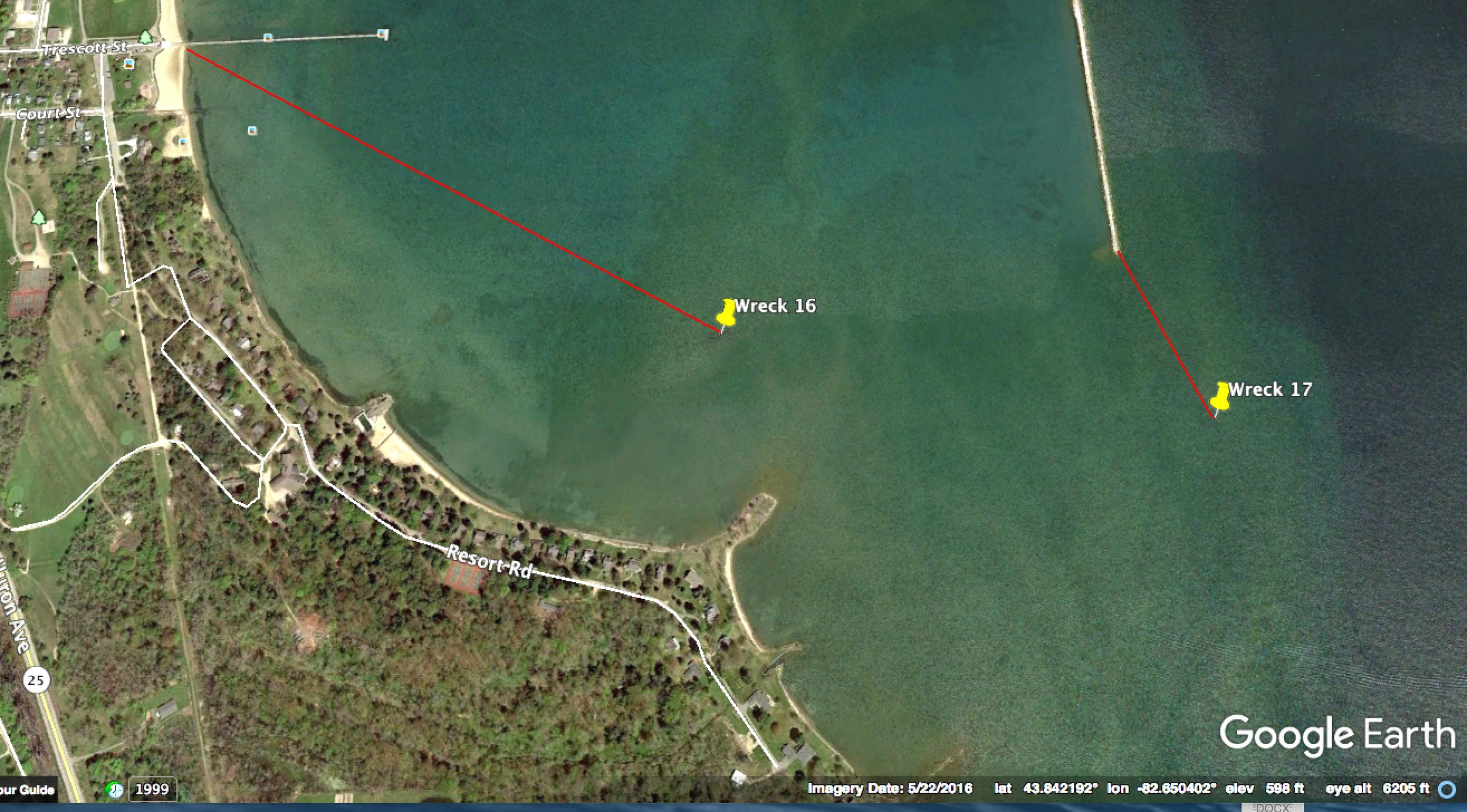 Wreck is 780 ft. from south end of the Harbor Beach breakwater on a bearing of 156 degrees. Public access from the Trescott St. pier. (No Google aerial image is available.)