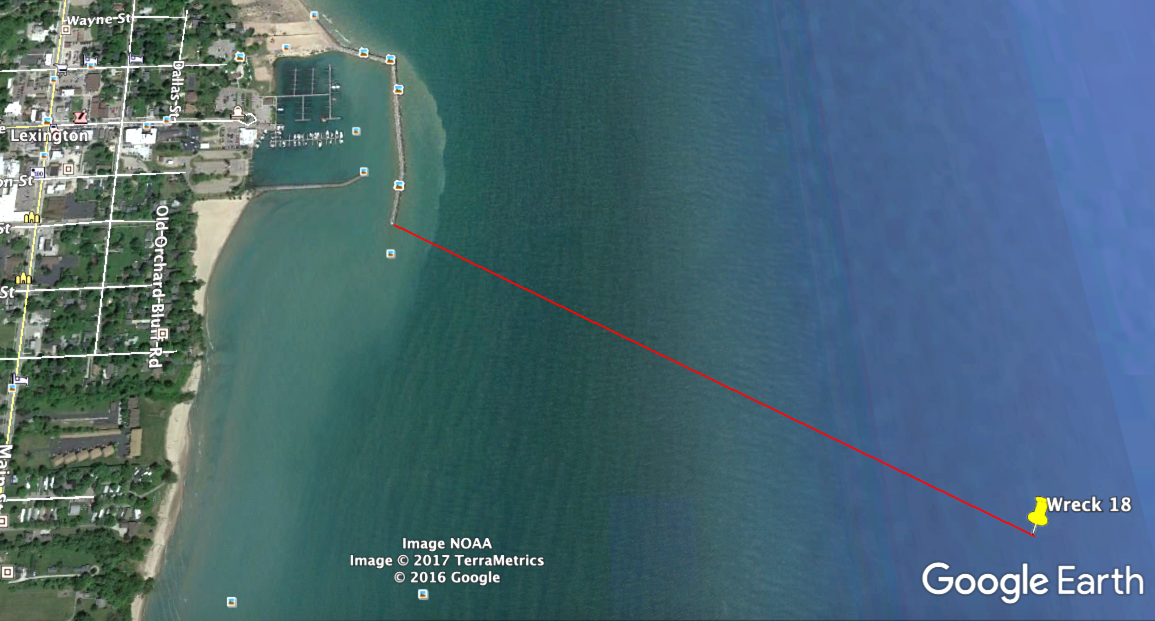 Wreck is 3,900 ft. from the Lexington breakwater end on a bearing of 116 degrees. Check Maritime Database for vessel details. (No Google aerial image is available.)