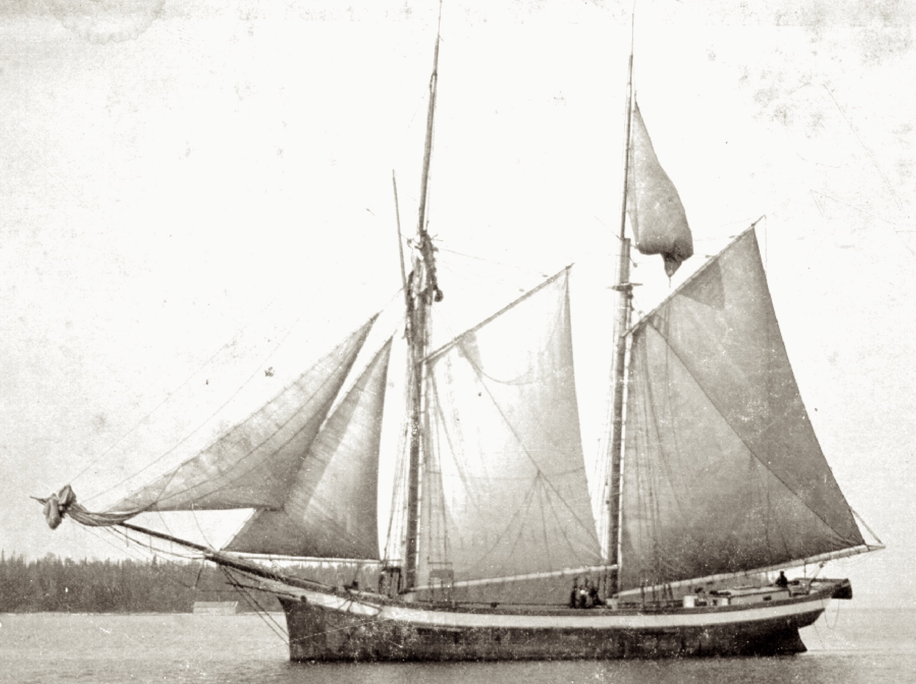 A 19th-century two-masted, gaff-rigged schooner on the Great Lakes.