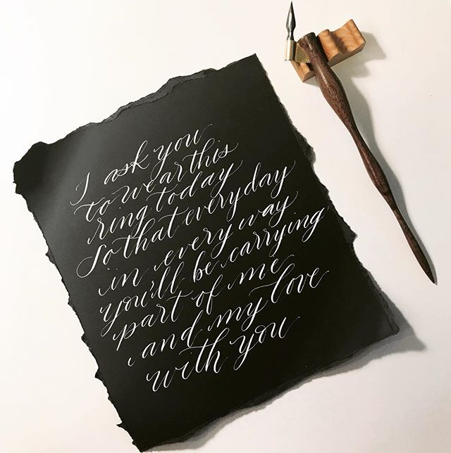 White ink + black paper vows creates such a beautiful contrast! 🖤🙈