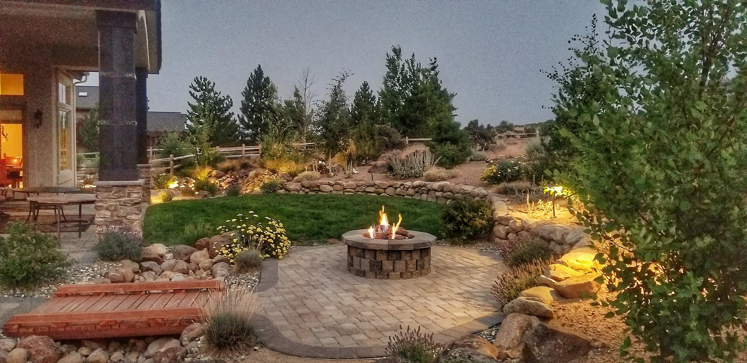Evergreen Landscape Pavers/Firepit