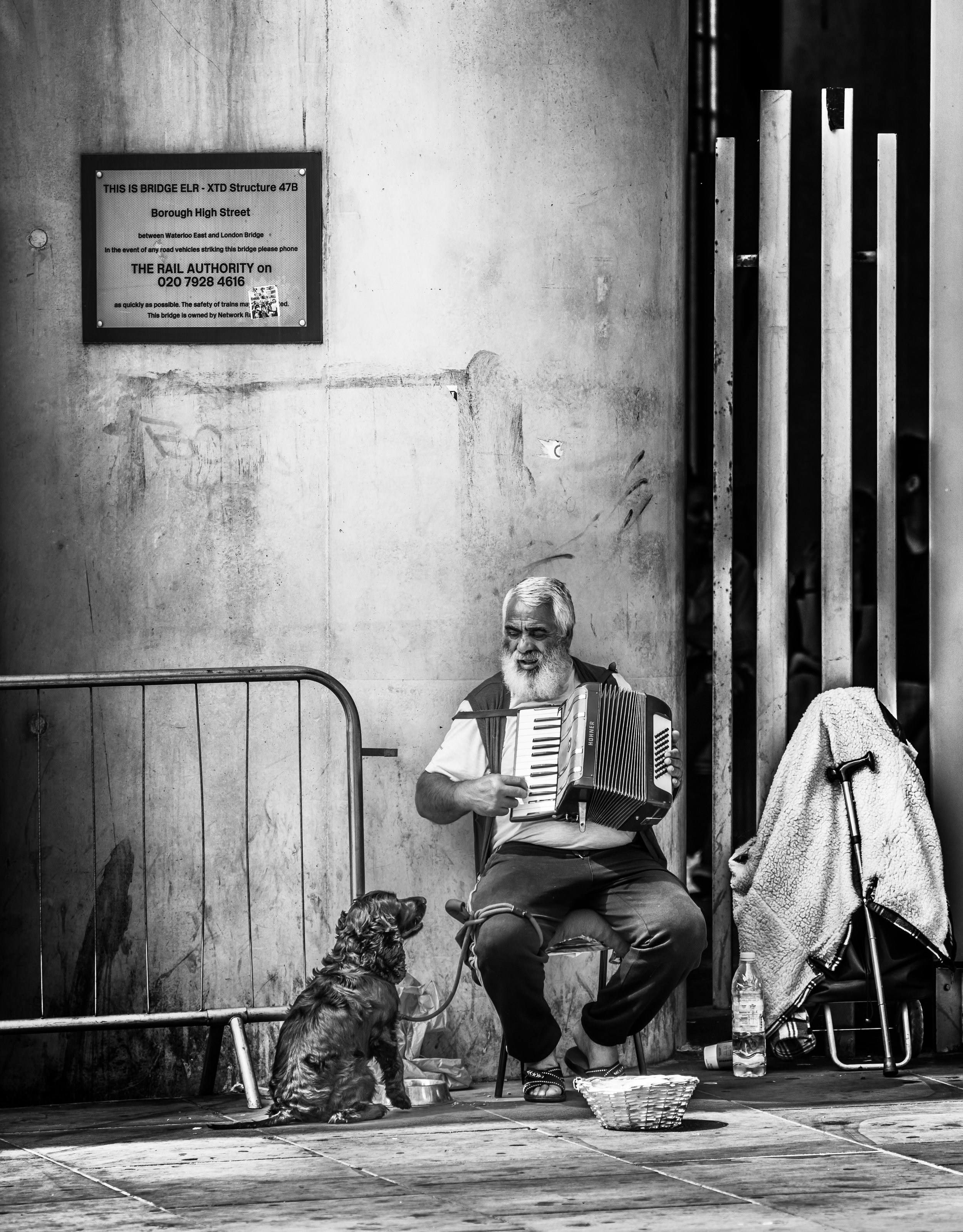 A Street entertainer playing the accordion while his dog admires him - July 2018