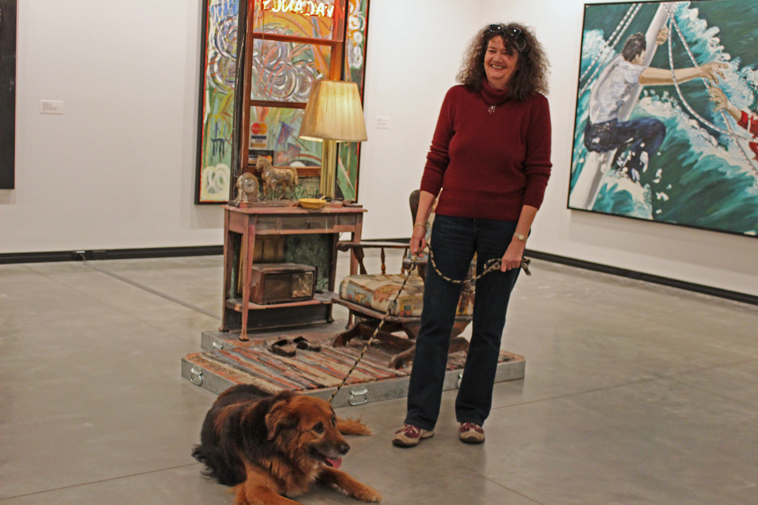 "Owner Lis with dog Milo at ""Useful Art #5: The Western Motel"" by Nancy Reddin Kienholz; Edward Kienholz, 1992. Image taken on March 13, 2013."