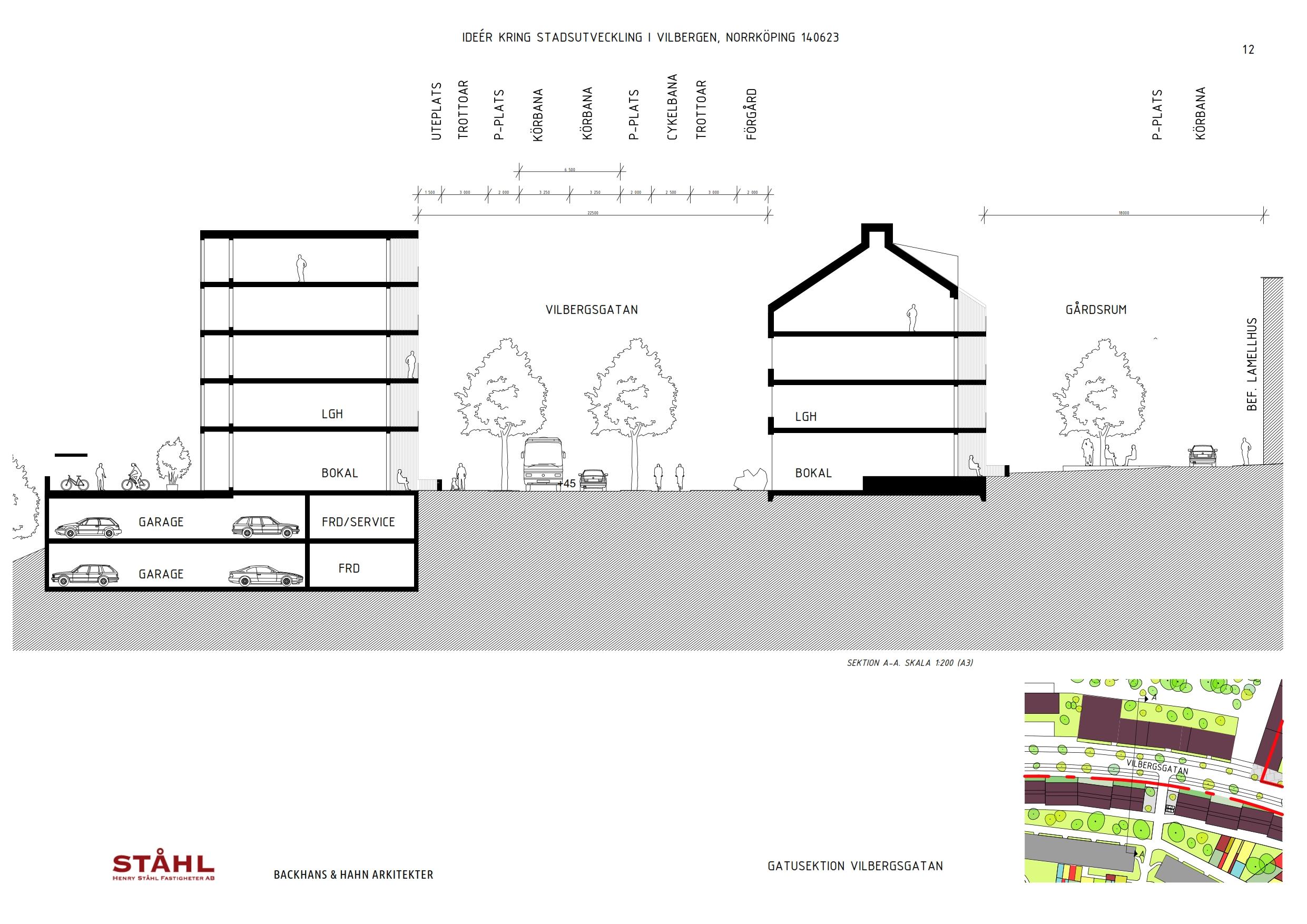 Typsektion genom Vilbergsgatan med förslag på tillkommande bebyggelse.