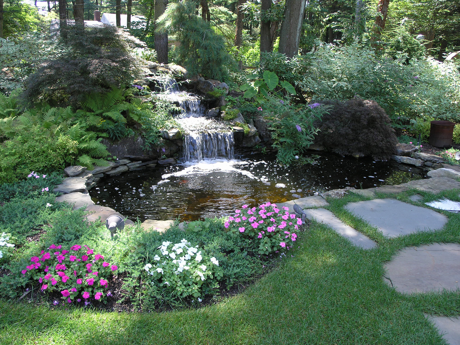 Professional landscape design company with waterfall in Long Island, NY