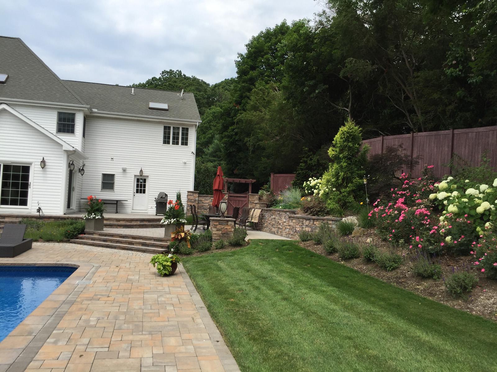 Professional landscape design with plantingsin Long Island, NY