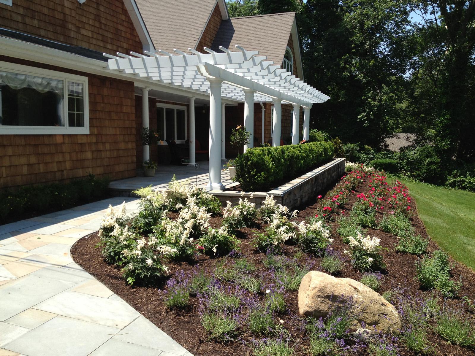 Landscape design with pergola in Long Island, NY