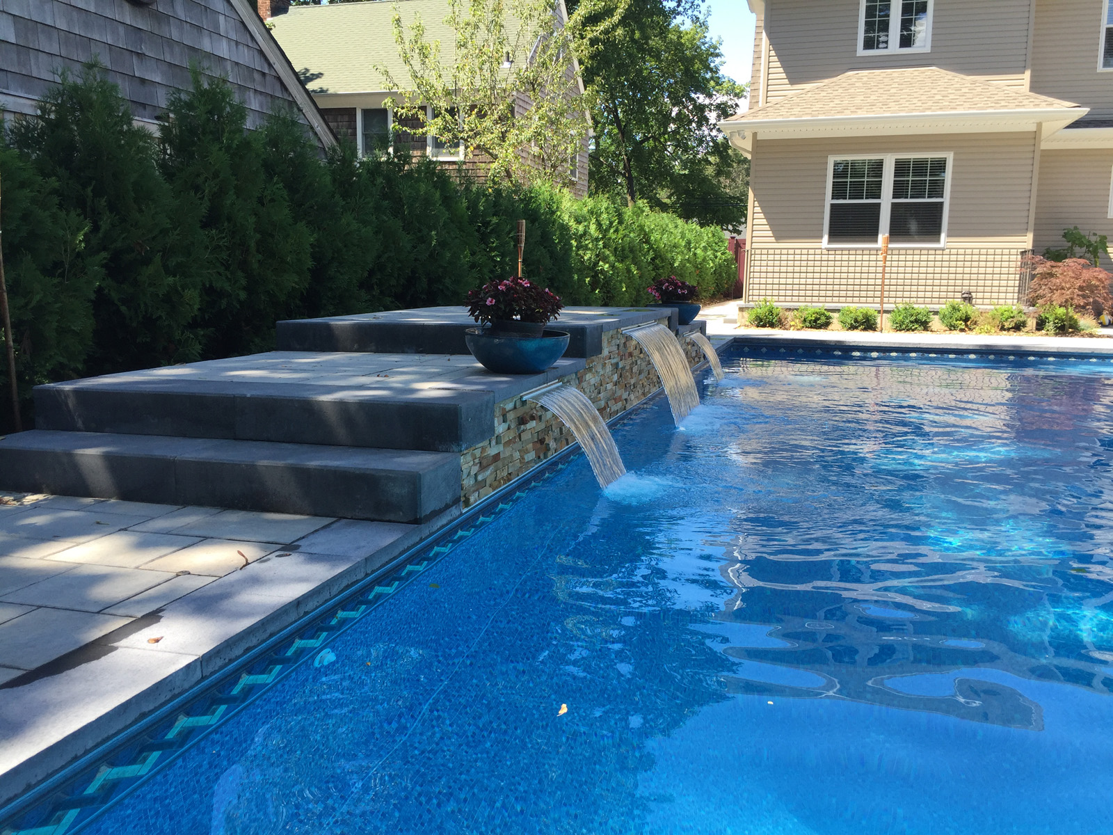 Landscape design with pool spa in Long Island, NY