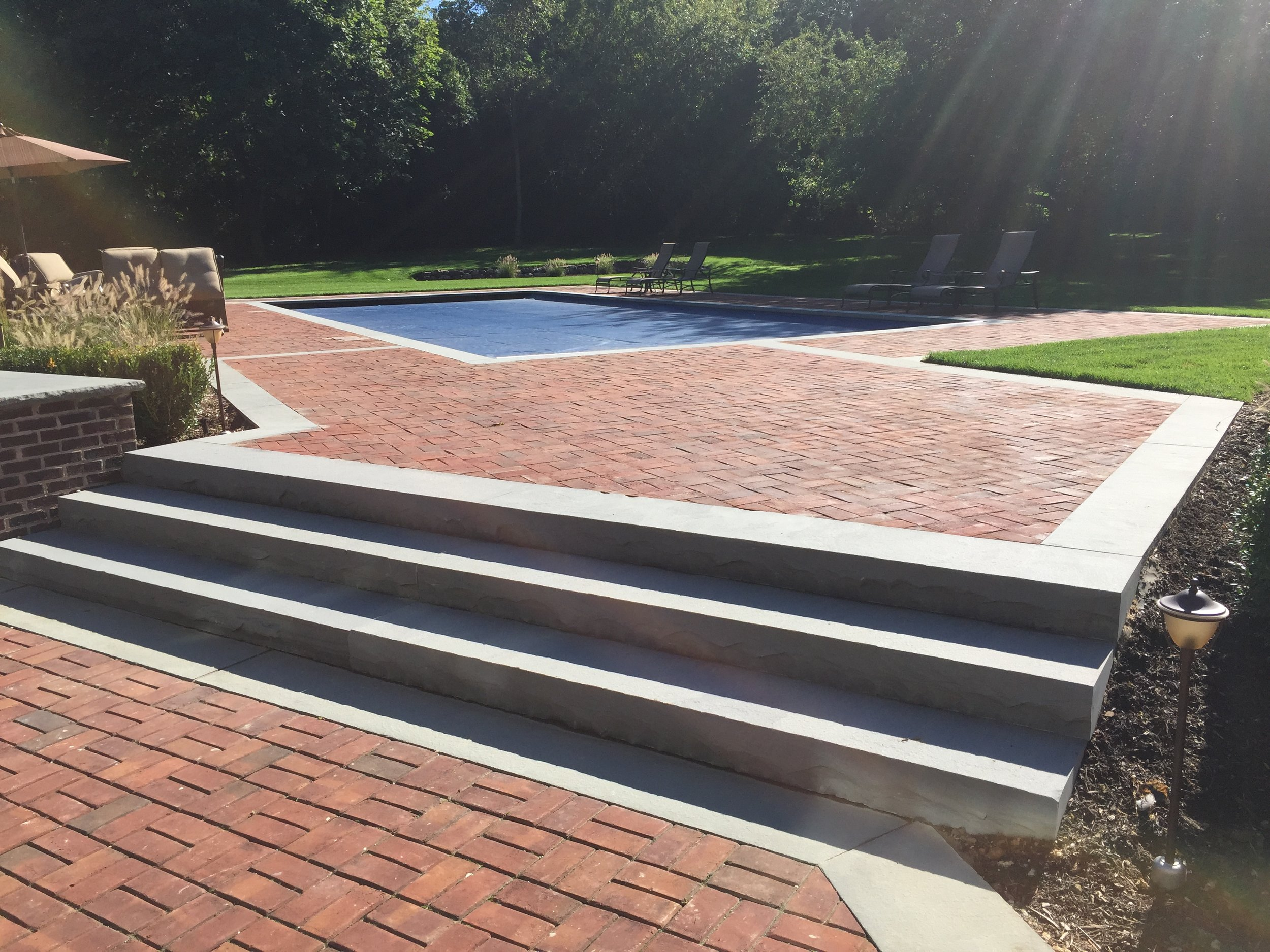 Landscape design with steps in Long Island, NY